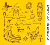 egypt symbols hand drawn... | Shutterstock .eps vector #644003605