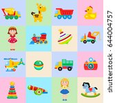 a set of children's toys.... | Shutterstock .eps vector #644004757