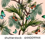 seamless vector tropical... | Shutterstock .eps vector #644009944