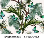 seamless vector tropical... | Shutterstock .eps vector #644009965