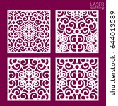 laser cut square ornamental... | Shutterstock .eps vector #644013589