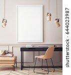 mock up poster with vintage... | Shutterstock . vector #644023987