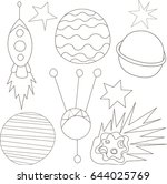 space objects set. | Shutterstock .eps vector #644025769