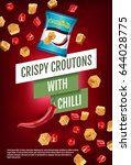 crispy croutons ads. vector... | Shutterstock .eps vector #644028775