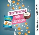 crispy croutons ads. vector... | Shutterstock .eps vector #644028901
