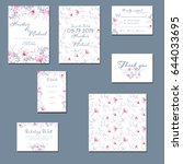 template cards set with... | Shutterstock . vector #644033695