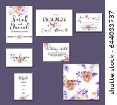 template cards set with... | Shutterstock . vector #644033737