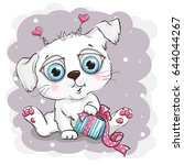 beautiful and cute white puppy... | Shutterstock .eps vector #644044267