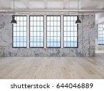 3d rendering. empty loft... | Shutterstock . vector #644046889