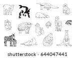 animals with babies vector... | Shutterstock .eps vector #644047441