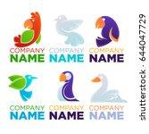 cartoon birds logo  emblems ... | Shutterstock .eps vector #644047729