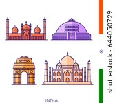 sights of india  icons of... | Shutterstock .eps vector #644050729