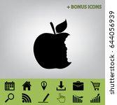 bite apple sign. vector. black... | Shutterstock .eps vector #644056939