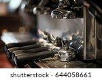 portafilter on espresso machine ... | Shutterstock . vector #644058661