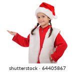 Little girl in Christmas hat with an empty hand, isolated on white - stock photo