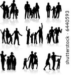 family silhouettes   vector work   Shutterstock .eps vector #6440593