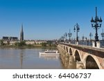 Saint Pierre bridge crossing Garonne river at Bordeaux, France