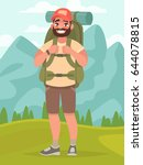 hiking tourist man with large... | Shutterstock .eps vector #644078815