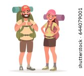 hiking tourist couple. man and... | Shutterstock .eps vector #644079001