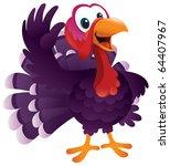 A Cartoon Turkey Waving Happily