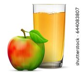 apple juice in glass isolated... | Shutterstock .eps vector #644083807