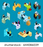 isometric support workers... | Shutterstock .eps vector #644086039