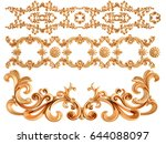 gold ornament on a white... | Shutterstock . vector #644088097