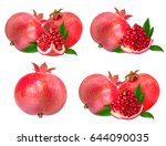 pomegranate isolated on white... | Shutterstock . vector #644090035