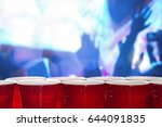 plastic red party cups in a row ...   Shutterstock . vector #644091835