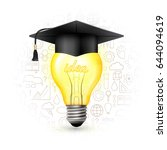light bulb with graduation hat... | Shutterstock .eps vector #644094619