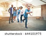 man throwing a petanque ball... | Shutterstock . vector #644101975