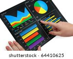 a woman pointing at a colorful...   Shutterstock . vector #64410625