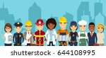 the team of specialists on the... | Shutterstock .eps vector #644108995