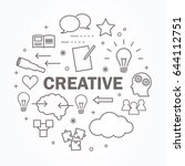 creative thin line icon set.... | Shutterstock .eps vector #644112751
