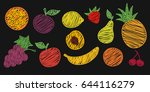 fruit set colorful hand drawn | Shutterstock .eps vector #644116279