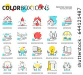 color box icons  protection... | Shutterstock .eps vector #644121487
