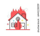 color box icon  house fire... | Shutterstock .eps vector #644123059