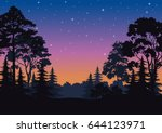 night landscape  forest ... | Shutterstock . vector #644123971