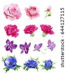 set of pink  red  purple  blue... | Shutterstock .eps vector #644127115