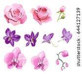 set of pink  red  purple... | Shutterstock .eps vector #644127139