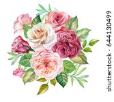 cute bouquet of watercolor roses | Shutterstock . vector #644130499
