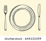 knife plate and fork. cutlery... | Shutterstock .eps vector #644131459