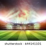 lights at night and stadium 3d... | Shutterstock . vector #644141101