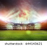 stadium in lights and flashes... | Shutterstock . vector #644143621