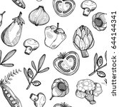 hand drawn graphic vegetables.... | Shutterstock .eps vector #644144341