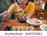salmon roll | Shutterstock . vector #644151061