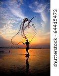 Fishing Net On Sunset