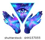 open hands with galaxy inside... | Shutterstock .eps vector #644157055