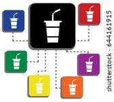 takeaway paper   plastic coffee ... | Shutterstock .eps vector #644161915