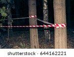 crime scene   police striped...   Shutterstock . vector #644162221